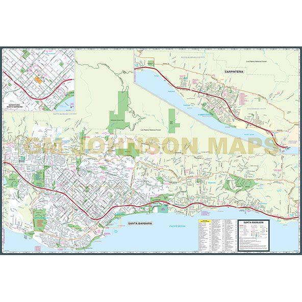 Santa Barbara Large Print, California Street Map - GM Johnson Maps on