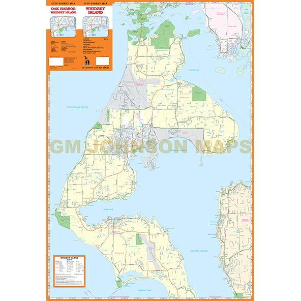Whidbey Island Washington Street Map  GM Johnson Maps