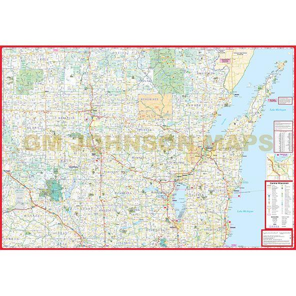 Wisconsin Central Wisconsin Regional Map  GM Johnson Maps