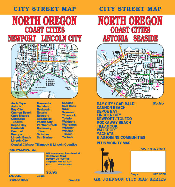 Oregon North Coast Astoria Seaside Newport Lincoln City Street Map