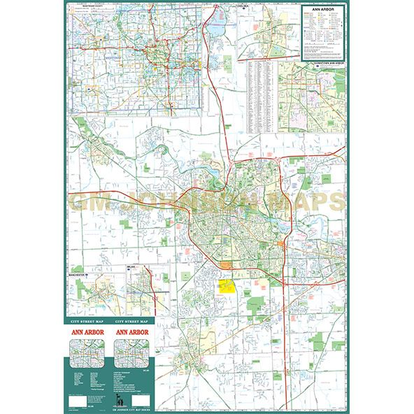 Ann Arbor / Ypsilanti / Plymouth / Canton Twp, Michigan Street Map on