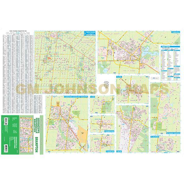 Brampton Orangeville Georgetown Ontario Street Map GM Johnson Maps