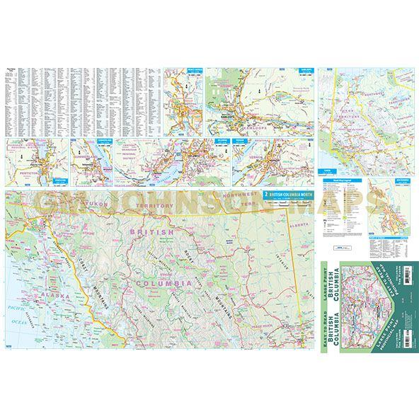 Map Of Canada British Columbia.British Columbia Large Print Yukon Canada Province Map Gm