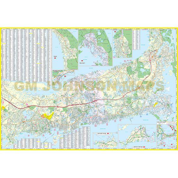 Cape Cod, Machusetts Street Map - GM Johnson Maps Cape Cod Machusetts Map on