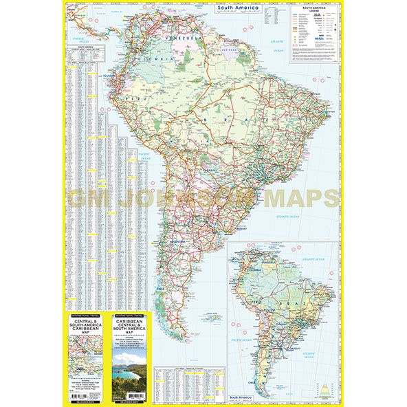 Caribbean / Central & South America Travel Map - GM Johnson Maps