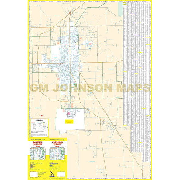 Carlsbad Hobbs Roswell New Mexico Street Map GM Johnson Maps