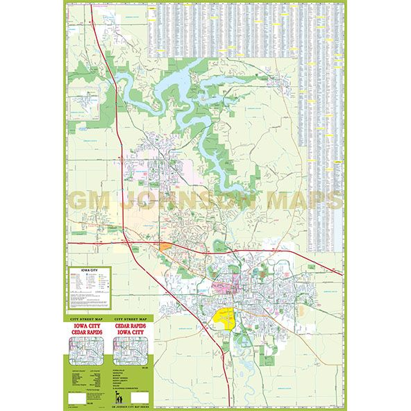 Cedar Rapids Iowa City Iowa Street Map GM Johnson Maps