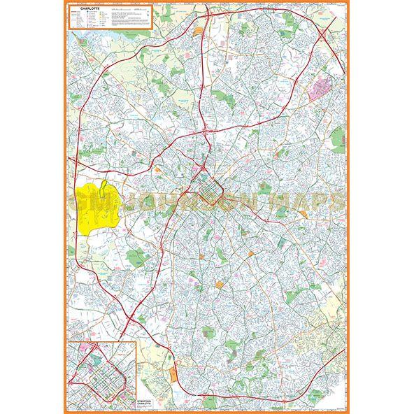 Charlotte, North Carolina Street Map - GM Johnson Maps