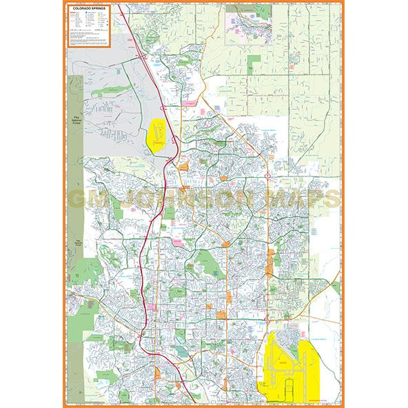 Colorado Springs Colorado Street Map GM Johnson Maps