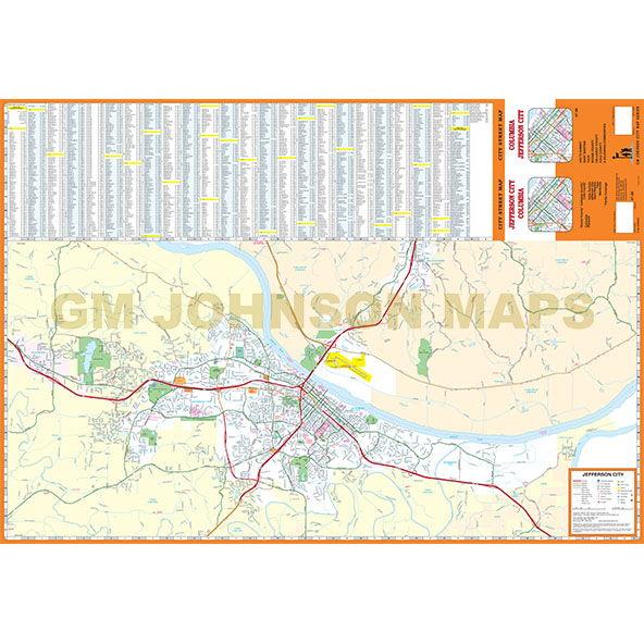 Columbia / Jefferson City, Missouri Street Map - GM Johnson Maps