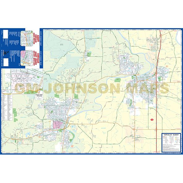 Corvallis Albany Lebanon Sweet Home Oregon Street Map GM