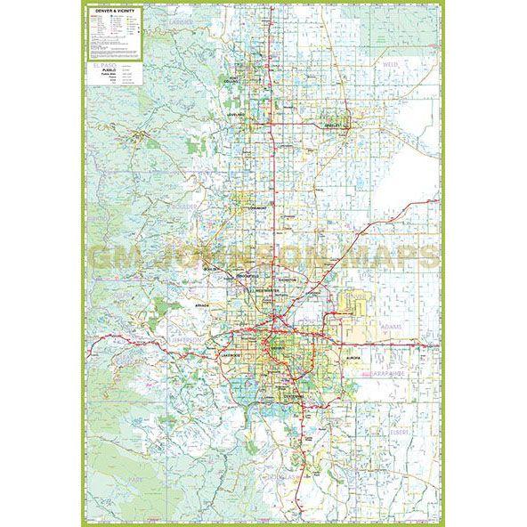 Colorado Front Range Map Denver / Front Range & Vicinity, Colorado Regional Map   GM