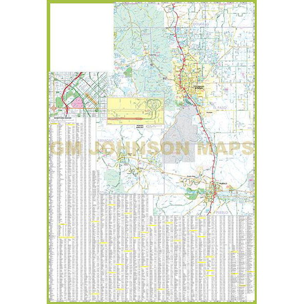 Denver / Front Range & Vicinity, Colorado Regional Map - GM Johnson Maps