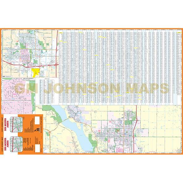 Des Moines / Ames, Iowa Street Map - GM Johnson Maps