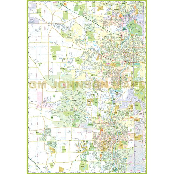 Elgin St Charles Kane County Illinois Street Map GM Johnson Maps