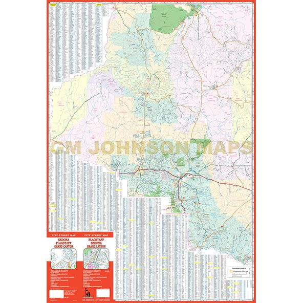 Flagstaff  Sedona  Grand Canyon Arizona Street Map  GM Johnson