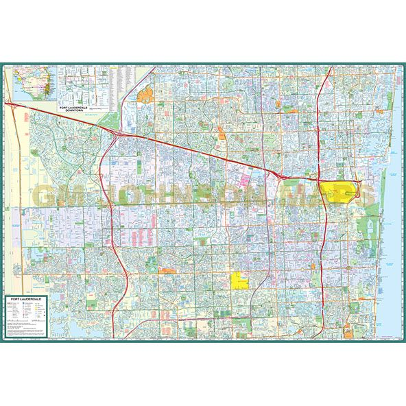 Ft Lauderdale On Map Of Florida.Fort Lauderdale Hollywood Broward County Florida Street Map