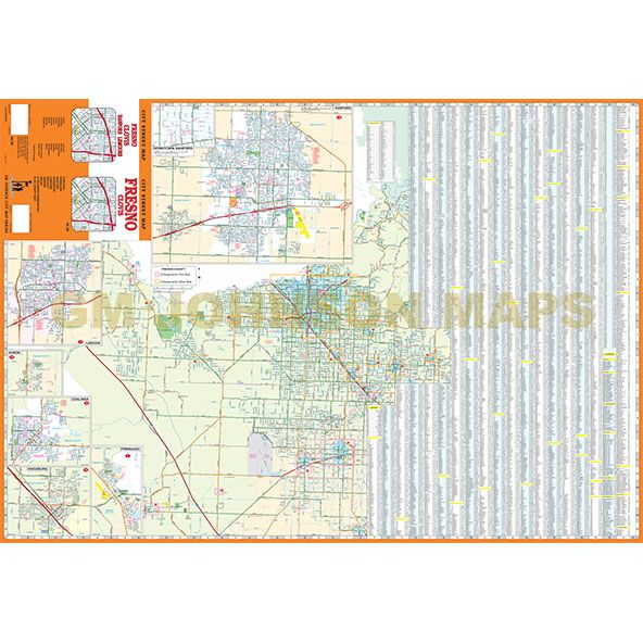 Fresno Clovis California Street Map GM Johnson Maps