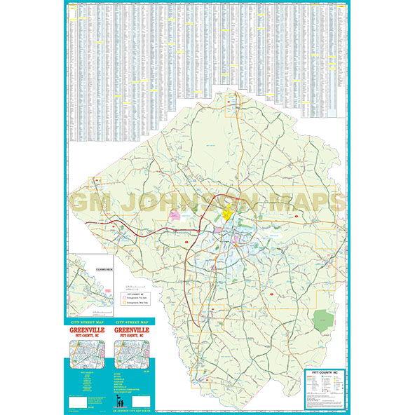 Greenville Pitt County North Carolina Street Map Gm Johnson Maps