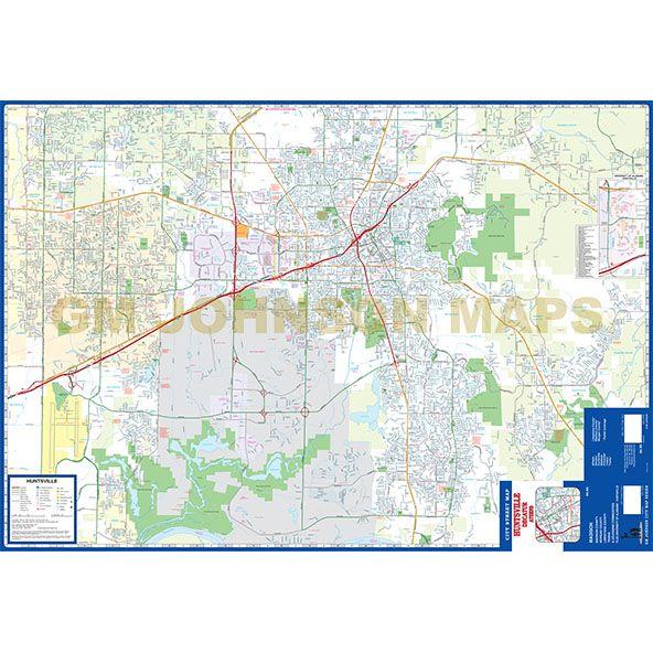 Huntsville / Decatur / Athens, Alabama Street Map - GM Johnson Maps