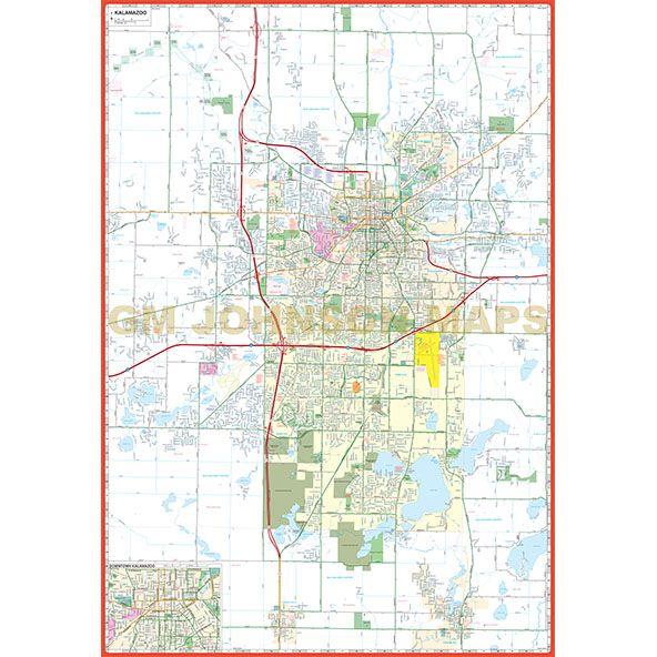 Kalamazoo Michigan Street Map Gm Johnson Maps