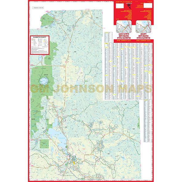 Klamath Falls Lakeview Crater Lake Oregon Street Map Gm