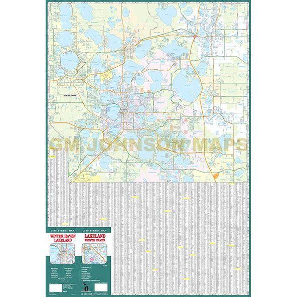 Lakeland Winter Haven Florida Street Map Gm Johnson Maps