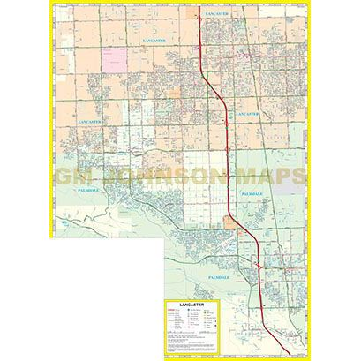 Lancaster Palmdale California Street Map GM Johnson Maps