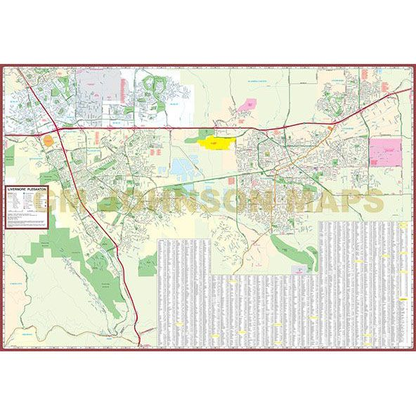 Livermore / Pleasanton / San Ramon / Dublin, California Street Map on