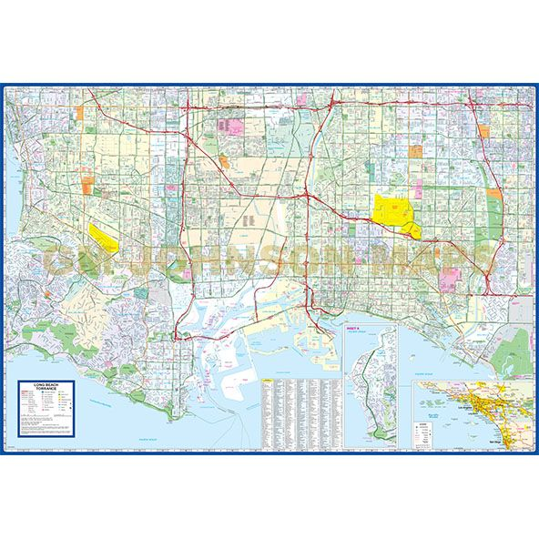 Long Beach Torrance Carson South Los Angeles California Street Map