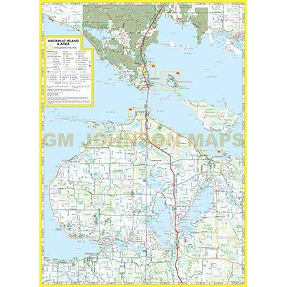 Mackinac Island St Ignace Michigan Street Map Gm Johnson Maps