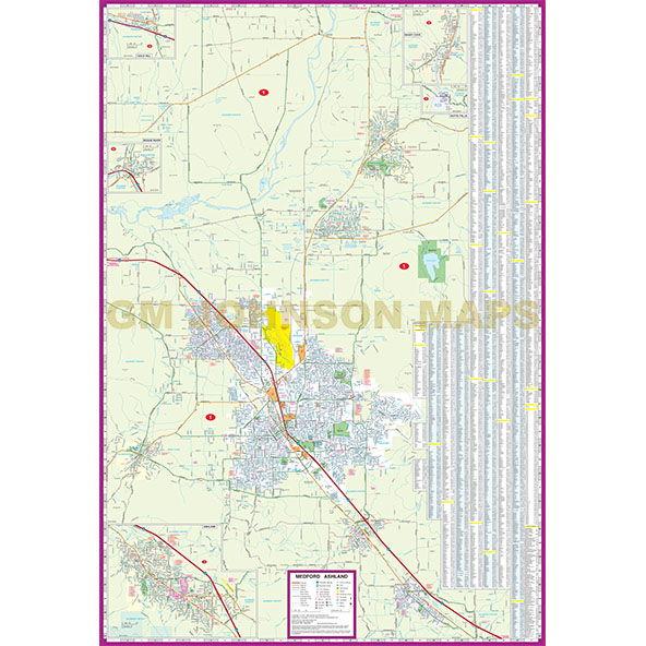 Medford Ashland Grants Pass Oregon Street Map GM Johnson Maps