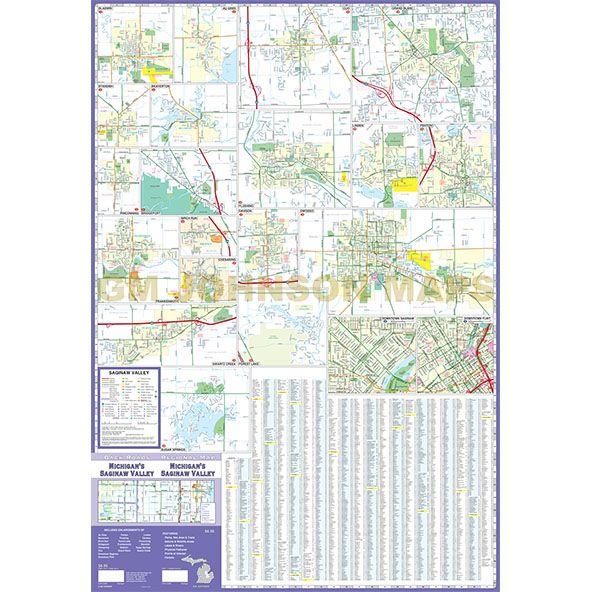 Michigan Saginaw Valley Michigan Regional Map Gm Johnson Maps