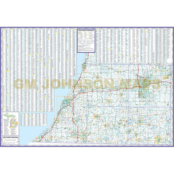 Michigan Southwest Michigan Regional Map Gm Johnson Maps