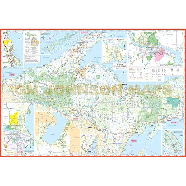 Upper Pennisula Michigan Map.Michigan Upper Peninsula Michigan Regional Map Gm Johnson Maps