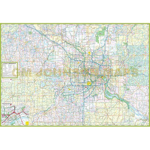 Minneapolis St Paul & Vicinity, Minnesota Regional Map - GM Johnson Maps