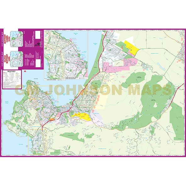 Monterey Carmel Salinas California Street Map GM Johnson Maps
