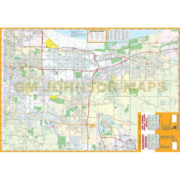 NW Indiana / Gary / Hammond / Michigan City, Indiana Street Map - GM ...