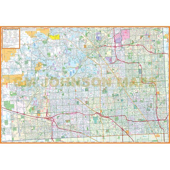 Farmington Hills Michigan Map.Oakland County South Michigan Street Map Gm Johnson Maps