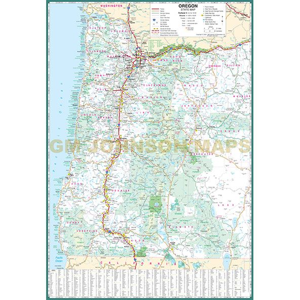 photograph about Printable Map of Oregon identify Oregon Hefty Print, Oregon Region Map - GM Johnson Maps
