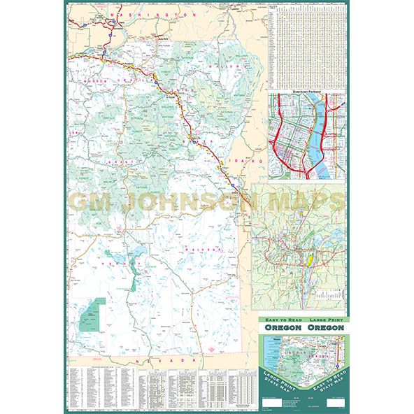 Oregon Large Print Oregon State Map GM Johnson Maps - State map of oregon