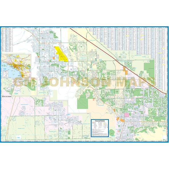 Map Of California Showing Palm Springs.Palm Springs Desert Cities California Street Map Gm Johnson Maps