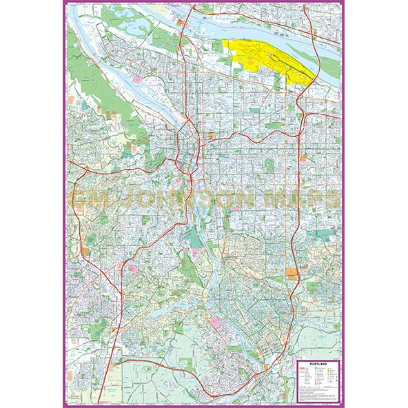 Portland, Oregon Street Map - GM Johnson Maps on