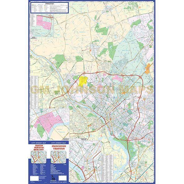 Princeton Trenton New Jersey Street Map GM Johnson Maps