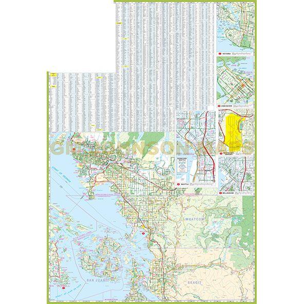Bc Washington Map.Puget Sound Olympia Seattle Vancouver Bc Washington Regional