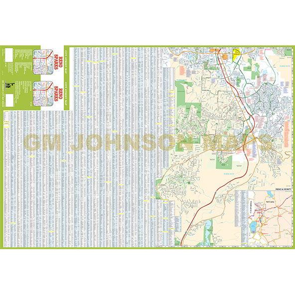 Reno Sparks Nevada Street Map GM Johnson Maps - Street map of reno nv