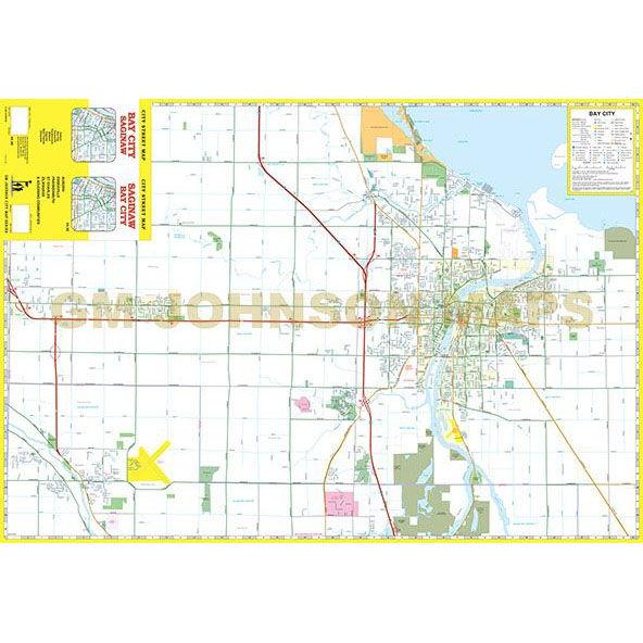 Saginaw Bay City Michigan Street Map Gm Johnson Maps