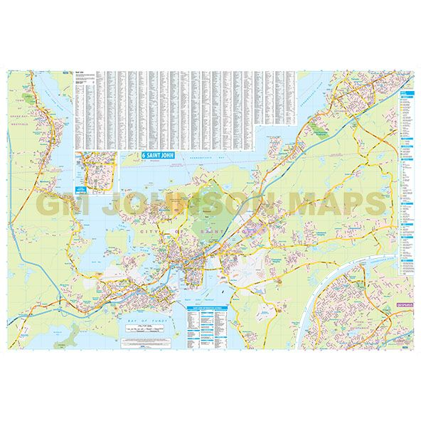 Saint John Fredericton St Stephen New Brunswick Street Map