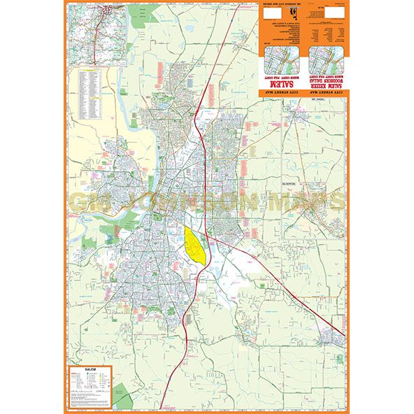 Salem Marion Polk Counties Oregon Street Map Gm Johnson Maps