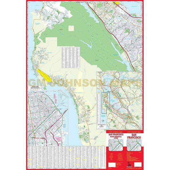 San Francisco North Peninsula California Street Map GM Johnson Maps
